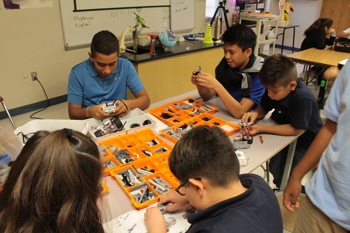 Students working in Robotics
