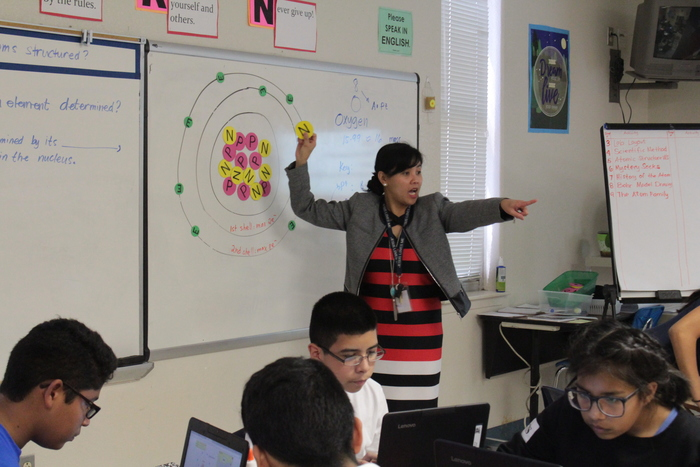 Ms. Dolino discussing the Atom with the students