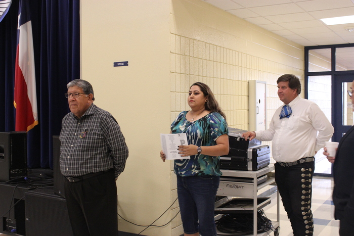 Principal Santos Lujan and counselor John Ferguson along side of Arian V. Ornelas the parent Liaison directing the meeting